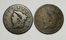 #2 Lot of Two Large Cents - 1C - Coronet Head - 1816 / 1817 - Us Coins