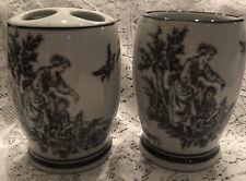 Black and white Toile Ceramic Bathroom Toothbrush Holder and Tumbler Vintage