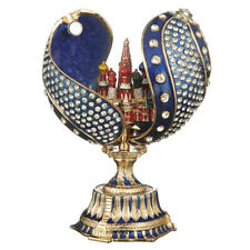 Russian Faberge Twisted Egg with Moscow St-Basil's Cathedral 4.8'' (12 cm) blue