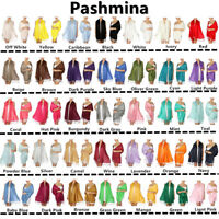 Wholesale Lot Soft Silky Solid Pashmina Scarf Shawl Wrap Stole Wool Silk Blend