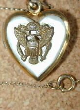 Vintage Army Locket Necklace w/ Chain Mother of Pearl Marked 1/20 12K GF