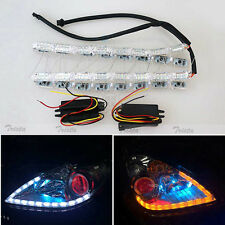 2PC 16 LED FLEXIBLE STRIP CAR DAYTIME RUNNING WHITE DRL &AMBER TURN SIGNAL LIGHT