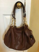 JUICY COUTURE Genuine Cowhide LEATHER BROWN HOBO Handbag Purse Gold Chain XLarge