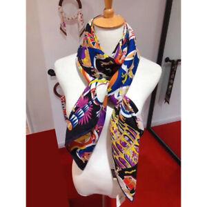 70% Cashmere 30% Silk Thin Scarf Fashion Museum Print Shawl Stole Kerchief 135cm