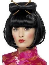 Short Black Straight Wig, Oriental Lady Wig, Japanese, Geisha Inc Chopsticks