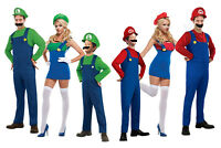 Ladies Mens Luigi Mario Bros Fancy Dress Super Plumber Bros Costume Outfit