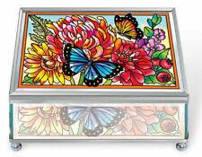 """Indian Summer Jewelry Box AMIA Glass Mirrored New Butterfly Flowers 5 7/8"""" Long"""