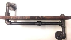 """24"""" Industrial Urban Iron Pipe shelf design 1""""X10"""" WOOD (Pick your own stain)"""