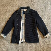 Womens Ladies BURBERRY Diamond Quilted Jacket Coat Navy Nova Check Size UK 12