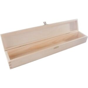 Wooden Candle Long Box with Lid & Clasp / 47 cm / Plain Wood / Keepsake Memory
