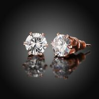 Made with Swarovski Crystal 6mm Stud Earrings in 18K Rose Gold Plating