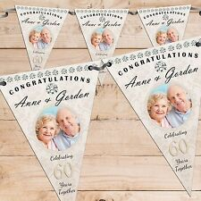 Personalised 60th Diamond Wedding Anniversary PHOTO Flag Banner Bunting N59