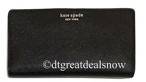 NEW Kate Spade Cameron Large Slim Bifold Wallet Black WLRU5444