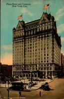 VINTAGE POSTCARD- PLAZA HOTEL & FOUNTAIN, NEW YORK CITY, NY  BK27