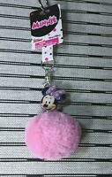 Disney Junior Minnie Mouse Pink Plush Faux Fur Ball Keychain Charm
