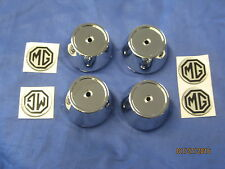 Mg Midget Sprite Set de 4 bouchons Centre de roue en alliage chrome plastique inc badge