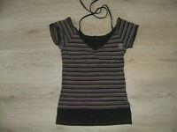 Beat Wear Shirt T-Shirt Top schwarz grau gelb pink gestreift Gr. XS S  34 36 164