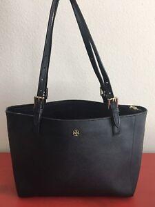 Tory Burch Small York Buckle Tote  Black Saffiano Leather $245