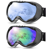 Unisex Ski Goggles Spherical Snowboard Goggles with Black Frame, Mirror-Coated