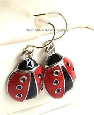 Silver Plated Ladybug Earrings Lady Bug Insect Heart Red Enamel Pierced USSeller