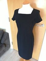 Ladies Dress Size 10 M&S Black Shift Wiggle Office Work Day Party