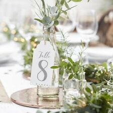 Wedding TABLE NUMBERS Luggage Label Tags white grey numbers 1 -12  vintage style