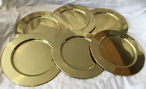 "Lot of Six (6) Brass Charger Plates  11"" In Diameter Heavy"