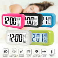 LED Digital Snooze Alarm Clock Time Calendar Temperature Thermometer Backlight