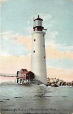 GRAVES LIGHT HOUSE Off Boston Harbor, MA c1910s Vintage Postcard