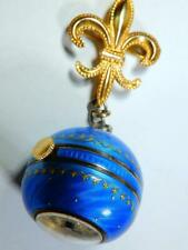 Antique Guilloche blue enamel lapel watch stars General Movement. Pre Rolex runs