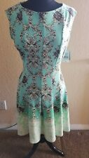 DANNY & NICOLE NWT Summer Turquoise Ombre print dress - Size14