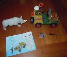 Complete Set Playmobil # 5904 African Safari Ranger Jeep Rhinoceros EUC