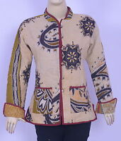 Indian Kantha Work Reversible Button Down Floral Printed Vintage Medium Jacket