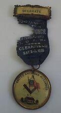 Vintage Masonic Mason United American Mechanics Medal Pennsylvania Delegate 1908