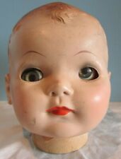 """Vintage Compostion Doll Head Parts 6"""" Imperial Crown /Molded Brown Hair"""