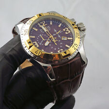 Mens 2 Tone Gold Brown Invicta Reserve Luxury Chronograph Watch