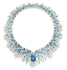 925 Sterling Silver Blue Emerald Round CZ Highend Statement Necklace Party wear