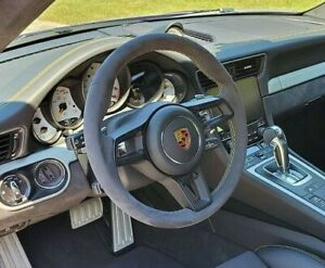 Porsche 991 911 2013-2019 Black Alcantara Steering Wheel Yellow Stitching New