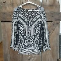 Umgee Size M Embroidered Lace Mesh Semi Sheer Top Boho Aztec