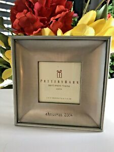"""POTTERY BARN 3x3 Picture Frame """"Christmas 2004"""" Antique Pewter Finish-BRAND NEW"""