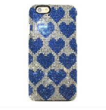 Blue Hearts Made with Swarovski Crystals Beads Bling Case Cover iPhone 7/8 Plus