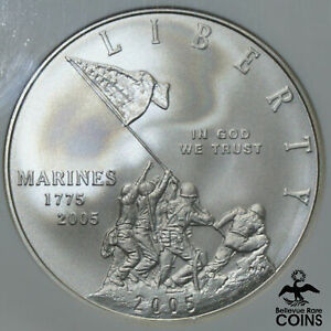 2005-P United States $1 MARINES Silver Coin NGC MS70