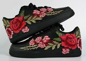 🌹 Nike Air Force 1 Custom Shoes Black Rose Red Flower Floral Low Men Women Kids