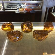 Lot 5 Pc Amber Yellow 7.5# Slag Glass Cullet Rock Landscaping Aquarium Stone