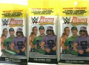 2018  TOPPS WWE HERITAGE  FAT PACKS ( 3 PACK LOT )