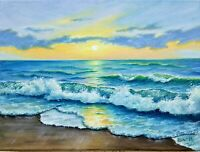 "Art9""/12""oil painting,sunset, evening ocean waves, seascape, landscape,surf"