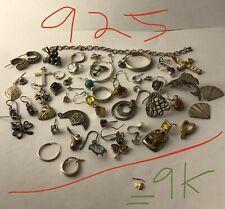 Vintage sterling silver / 9k gold scrap repurpose lot 060420aBE