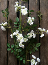 Pretty White Artificial Rose Branch, Realistic Silk Flowers, Faux Ivory Roses