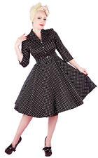 Classic 50's Black Polka Dot Button Up Shirt Rockabilly Swing Dress New 8 - 18