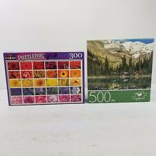 Puzzle Lot Of Two Puzzles - 300 pc Flowers + 500 pc Mountain Creek Cabins